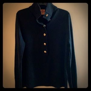 Tory Burch Giselle 1/4 Button Up sweater